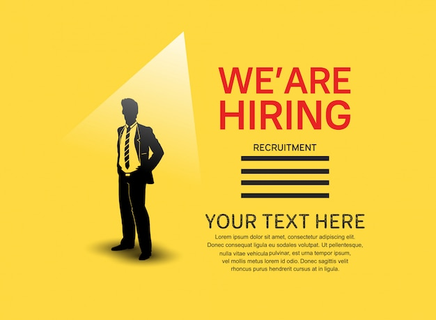 Nós estamos contratando cartaz de emprego com a silhueta do homem