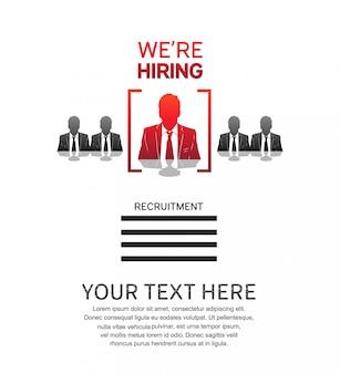 Nós estamos contratando cartaz de emprego com o ícone do homem