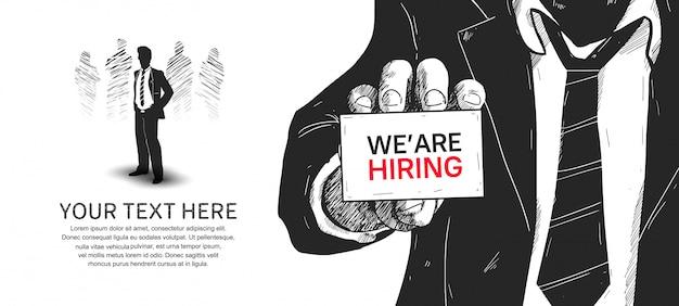 Nós estamos contratando cartaz de ilustração desenhada mão design