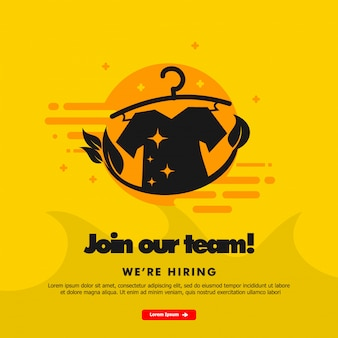 Nós estamos contratando, junte-se a nossa equipe, modelo de banner com ilustração de lavanderia