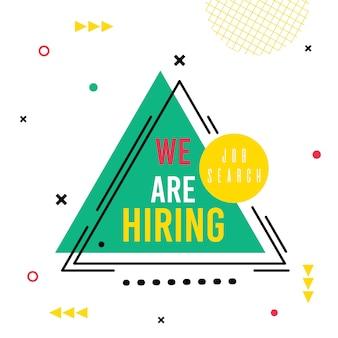 Nós estamos contratando, lettering no triângulo abstrato, job search