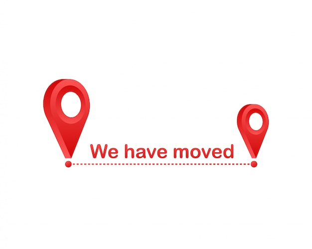 Nós nos mudamos. movendo o sinal do escritório. ilustração isolada imagem de clipart.