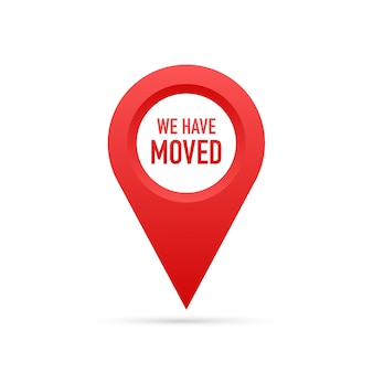 Nós nos mudamos. sinal de escritório em movimento.