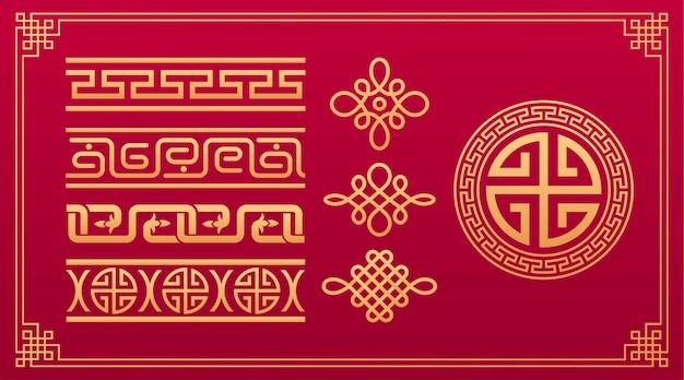 Nós orientais chineses, padrão geométrico, ornamento decorativo asiático