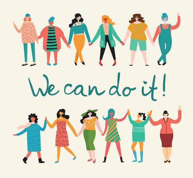 Nós podemos fazer isso. conceito feminino e design de empoderamento da mulher para banners