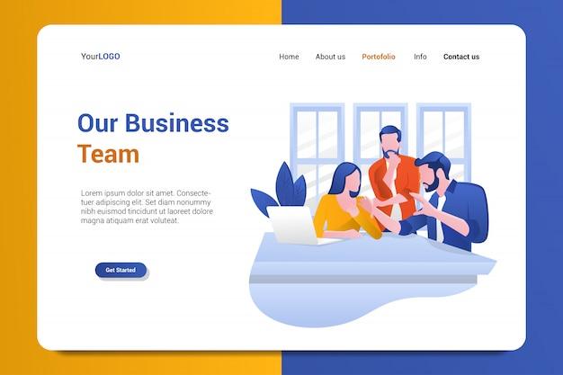 Nosso modelo de vetor de fundo de página de aterrissagem de equipe de negócios