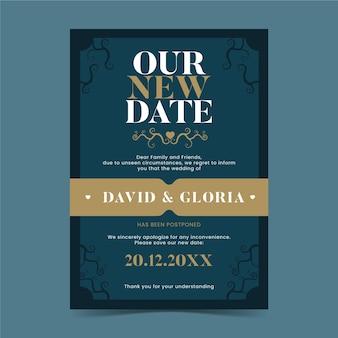 Nosso novo cartão de casamento adiado tipográfico de data