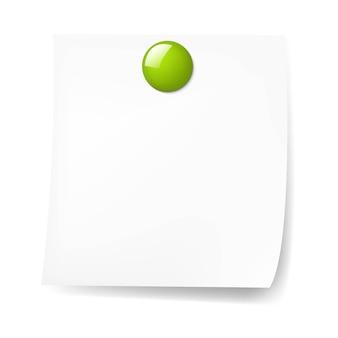 Nota adesiva em branco com alfinete verde