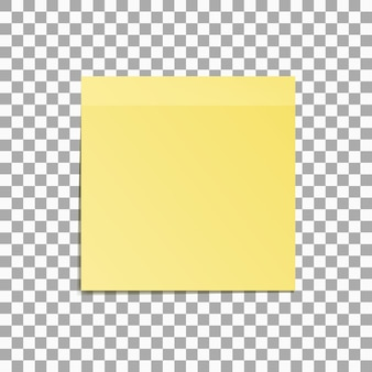 Nota auto-adesiva amarela isolada em ilustração vetorial de fundo transparente