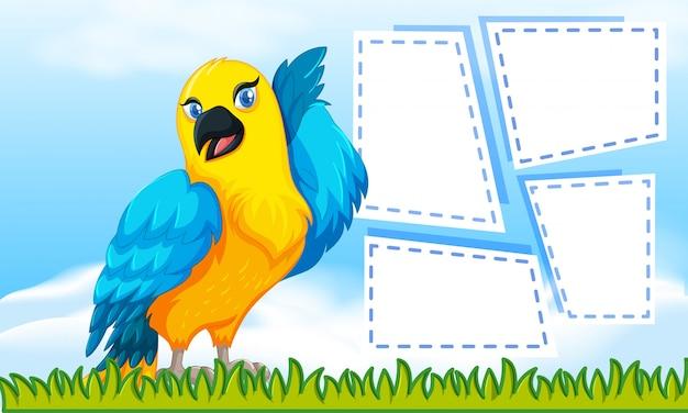 Nota com tema de pássaro para escrever