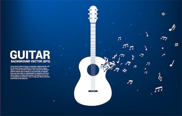 Nota da melodia da música dançando ícone de guitarra de forma de fluxo. tema de concerto de música e violão.