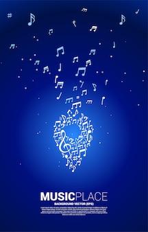 Nota da melodia da música de vetor em forma de ícone de pino. modelo de cartaz para o festival de música e local de concertos.