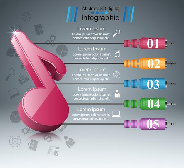 Nota da música - infográfico abstrato do negócio.