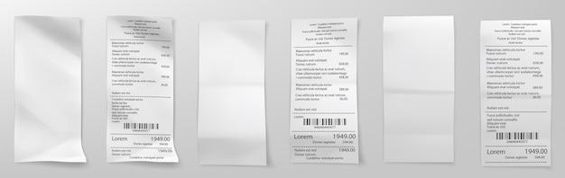 Nota de compra no varejo. recibo de compra de supermercado, verificação de fatura de soma e papel de venda de loja de custo total recibos de fatura de pagamento, compra de varejo em branco.
