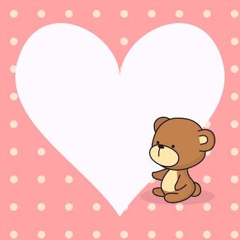 Nota de coração fofo com urso fofinho