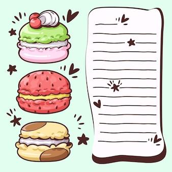 Nota de desenho bonito com sobremesas