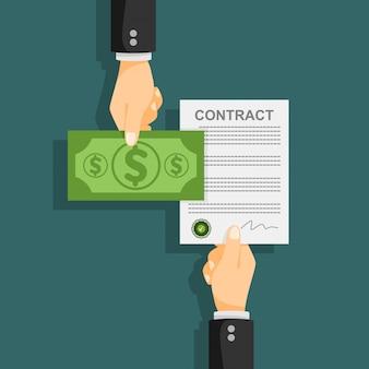Nota de dólar. ilustração em vetor conceito contrato.