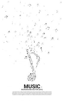Nota de melodia de música de vetor dançando o fluxo para o tema de concerto