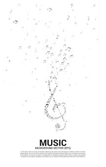 Nota de melodia de música de vetor dançando o fluxo