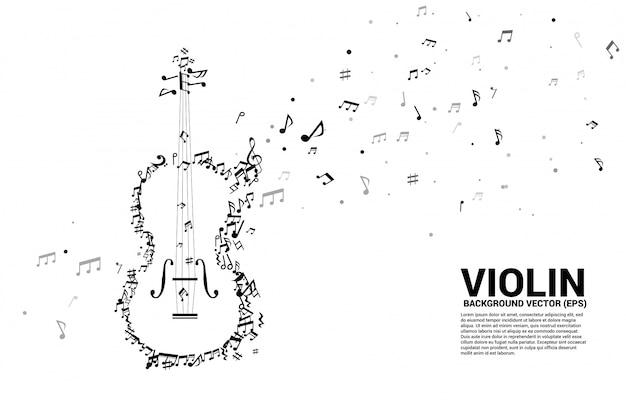 Nota de melodia de música de vetor dançando violino de forma de fluxo