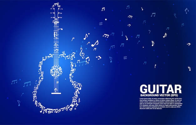 Nota de melodia de música vector dançando o ícone de guitarra de forma de fluxo