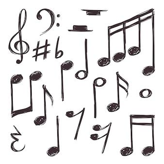 Nota de música desenhada de mão. símbolos musicais isolados no branco doodle coleção.
