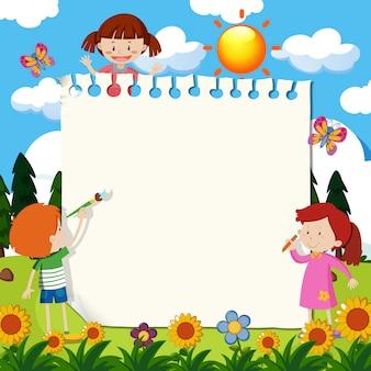 Nota de papel com crianças no jardim