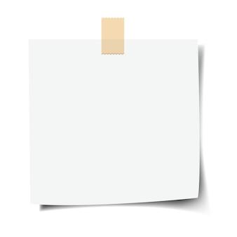 Nota de papel com fundo branco