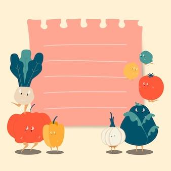 Nota de papel com vetor de vegetais engraçados