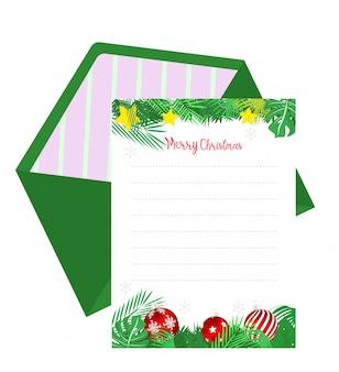 Nota de papel de natal com fundo de decoração