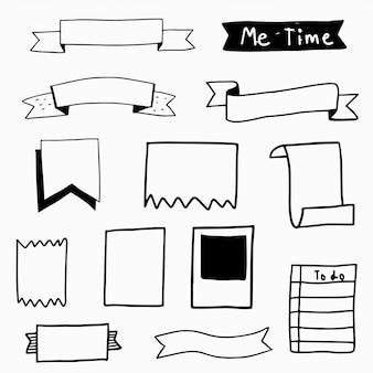Nota de papel mão desenhados elementos