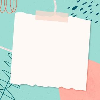 Nota de papel sobre fundo de memphis