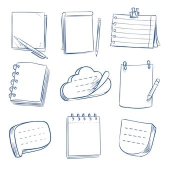 Nota do doodle. caderno de desenho, papel de memorando, vários documentos. conjunto de blocos de mão desenhada