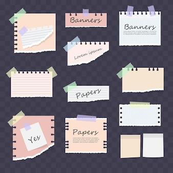 Nota listrada branca e colorida, caderno, conjunto de folhas de caderno