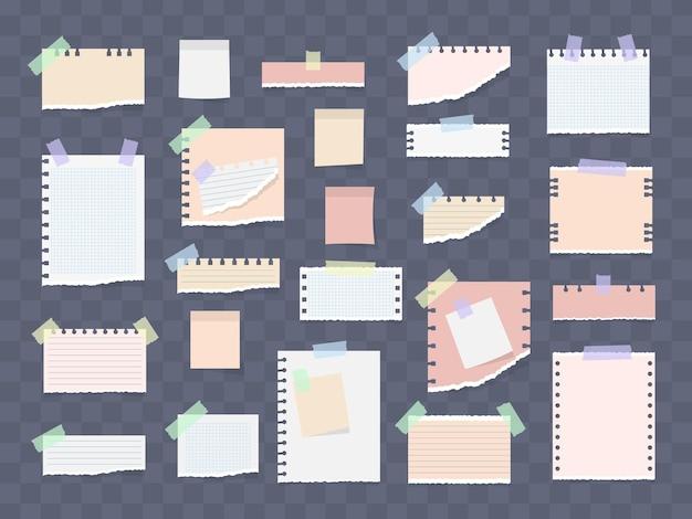 Nota listrada branca e colorida, caderno, folha de caderno