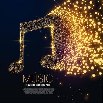 Nota musical feita com design de fundo de partículas brilhantes