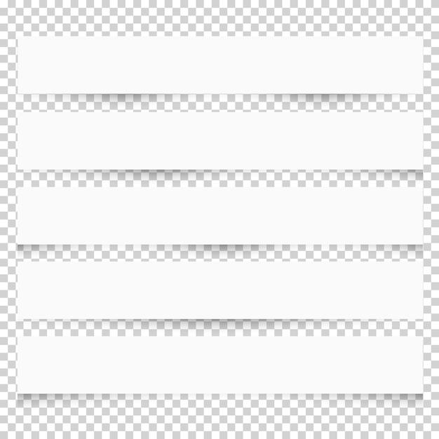 Nota papéis branco em branco com sombras diferentes