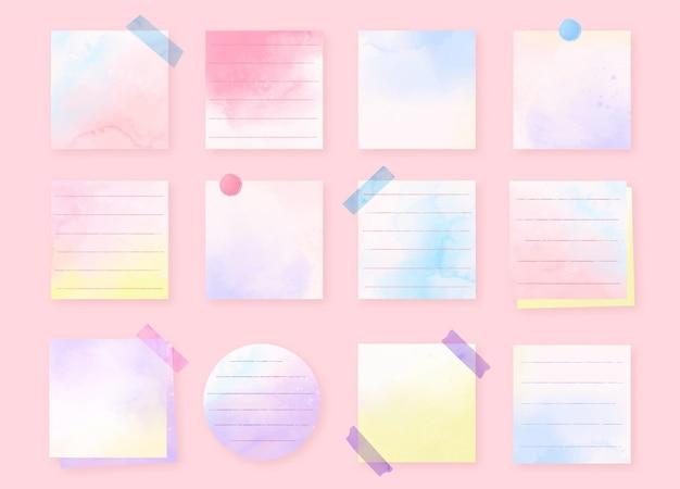 Notas adesivas de aquarela pintadas à mão