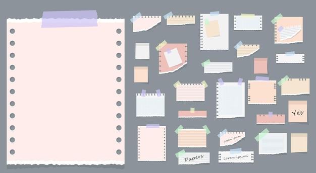 Notas adesivas em papel, mensagens, notas, blocos de notas e pedaços de papel, folhas de papel rasgado, cartão de lembrete