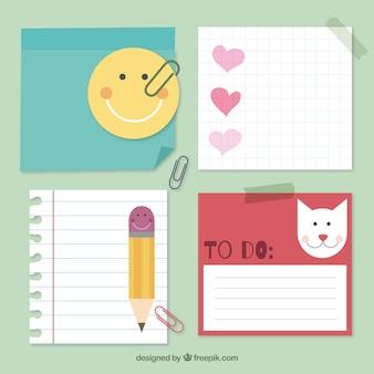 Notas adesivas em um estilo infantil