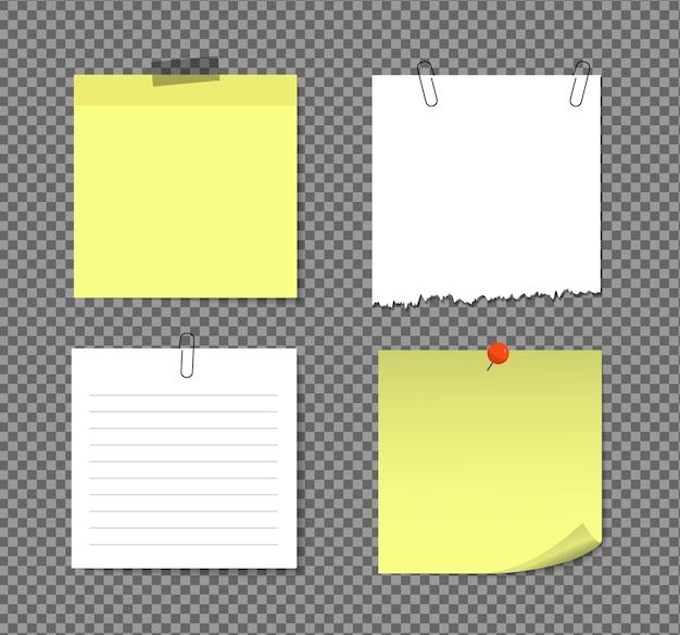 Notas adesivas realistas isoladas