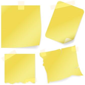 Notas amarelas com fita