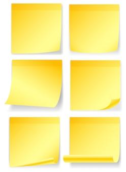 Notas amarelas em seis estilos diferentes