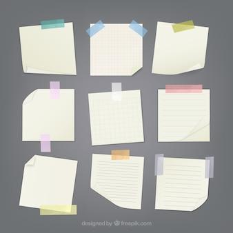 Notas anexas com fita adesiva