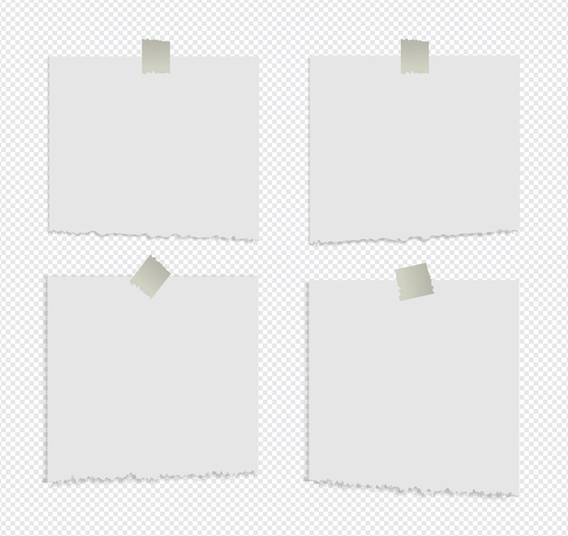 Notas auto-adesivas rasgadas realistas isoladas com sombra real no branco