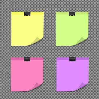 Notas auto-adesivas realistas isoladas com sombra real. lembretes de papel adesivo quadrado com sombras, página de papel.