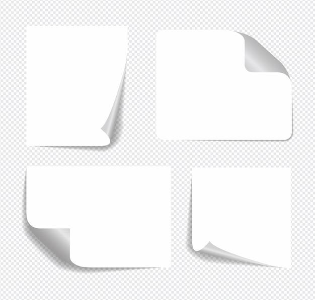 Notas auto-adesivas realistas isoladas com sombra real.
