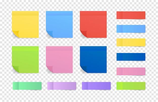 Notas coloridas pegajosas. postar papel de nota. ilustração.