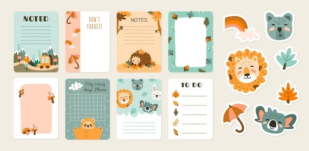 Notas de álbum de recortes e cartões com animais