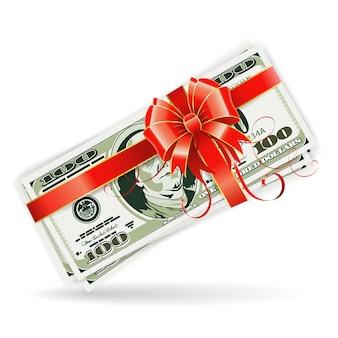 Notas de dólar com fita e arco